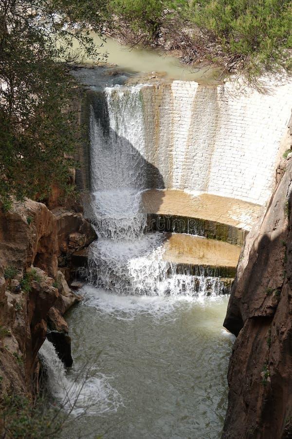 Rivierdam in Caminito del Rey in Andalusia, Spanje stock afbeelding
