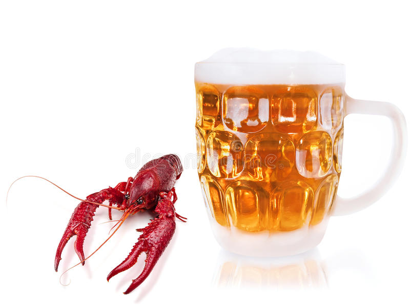 Rivierkreeften en bier royalty-vrije stock afbeelding