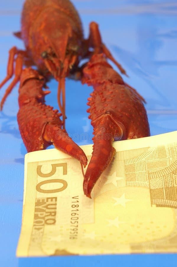 Rivierkreeften en Euro stock afbeelding