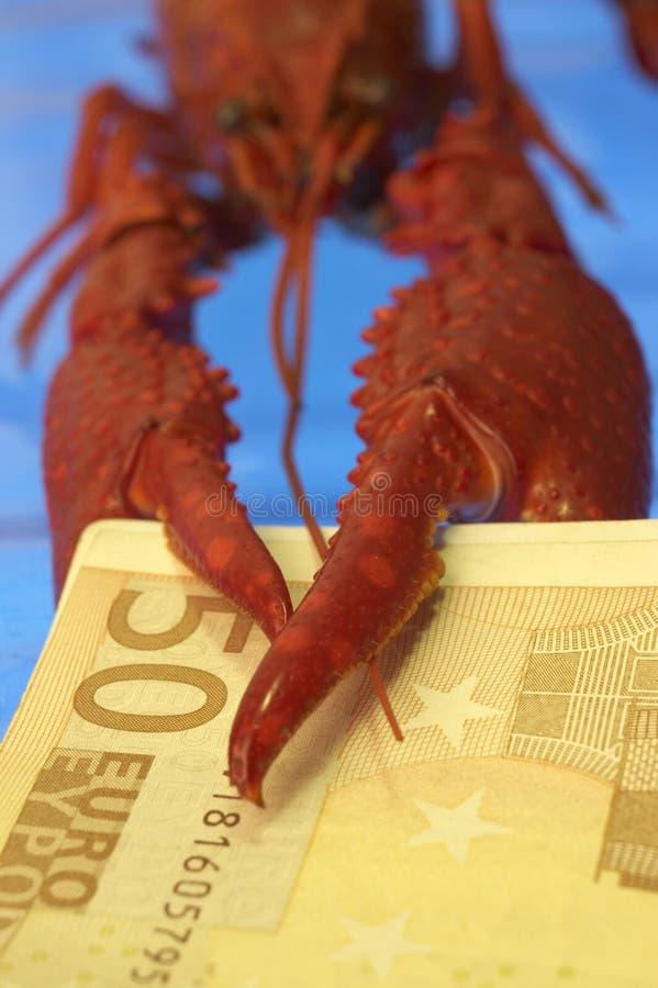 Rivierkreeften en Euro stock foto's
