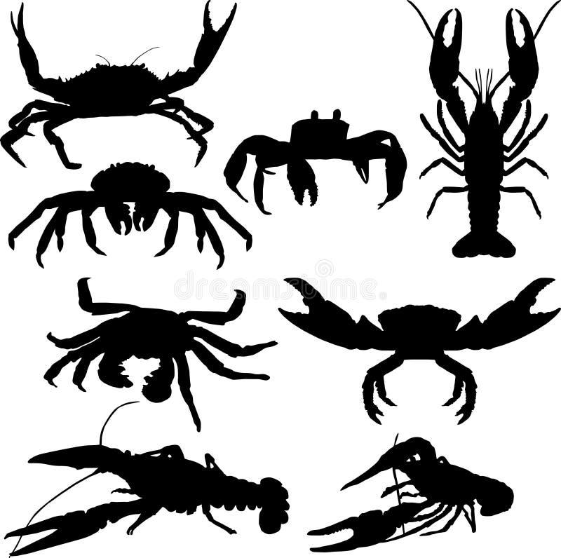 Rivierkreeften en krab royalty-vrije illustratie