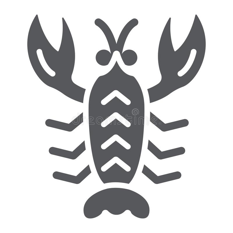 Rivierkreeften glyph pictogram, overzees en voedsel, zeekreeftteken, vectorafbeeldingen, een stevig patroon op een witte achtergr royalty-vrije illustratie