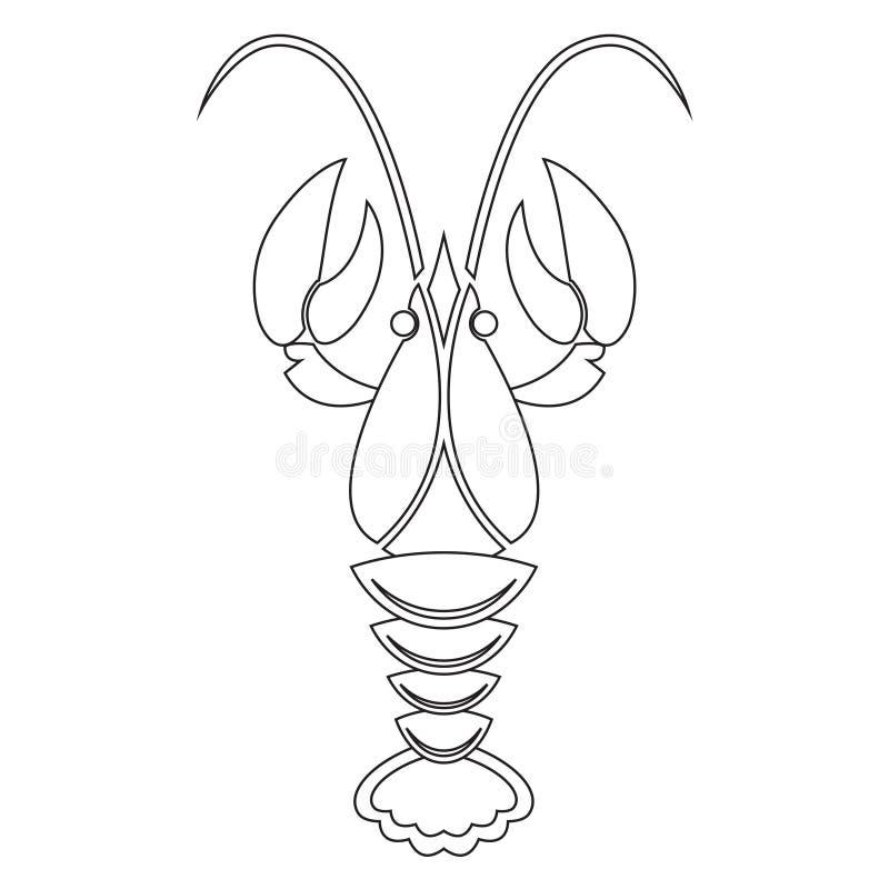 Rivierkreeften of zeekreeftlijnpictogram Vector illustratie stock illustratie