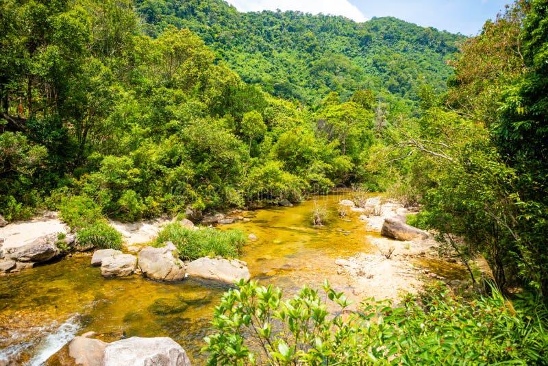 Rivierlandschap, aard van het zuidelijke deel van Hainan-Provincie, China stock afbeelding