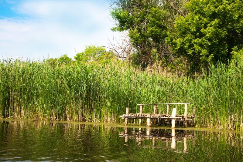 Rivierlandschap in de zomer zonnige dag royalty-vrije stock afbeeldingen