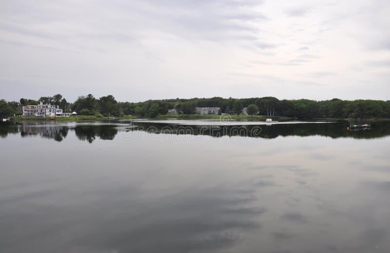 Rivierlandschap van Kennebunkport in Maine-staat van de V.S. stock afbeelding
