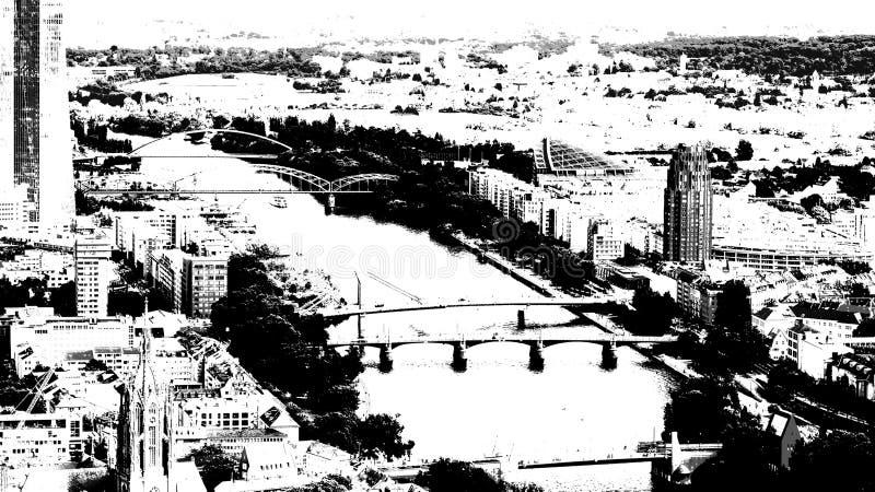 Rivierleiding in de stad van Frankfurt stock foto