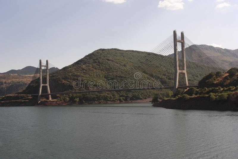 Rivieroever in meer, 'Barrios DE Luna ', Leà ³ n stock fotografie