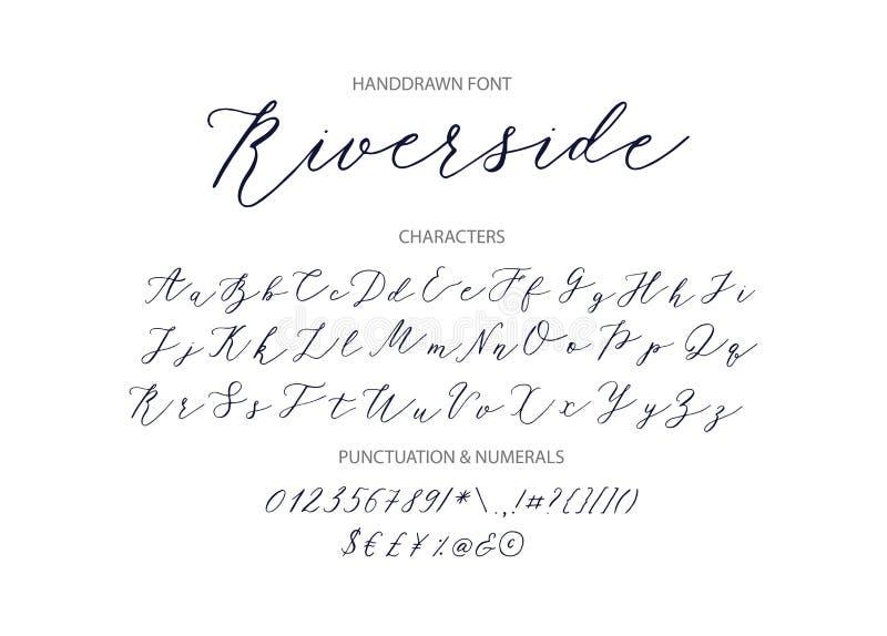 Rivieroever - met de hand geschreven Manuscriptdoopvont stock illustratie