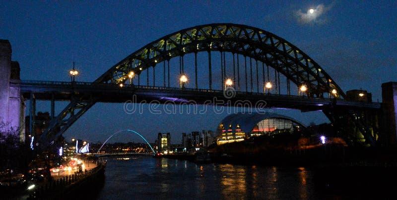 Rivieroever op de Tyne bij nacht watercolour royalty-vrije stock foto