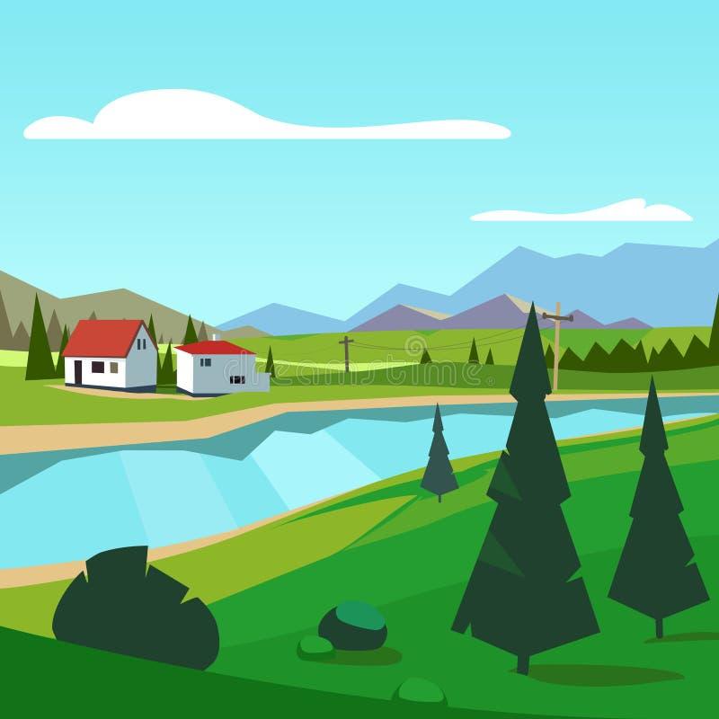 Rivieroever van het de lente de landelijke landbouwbedrijf toneel met bergen royalty-vrije illustratie