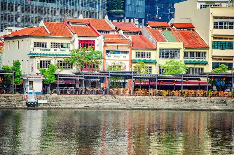 Rivieroeverbars en restaurants in Singapore stock afbeelding