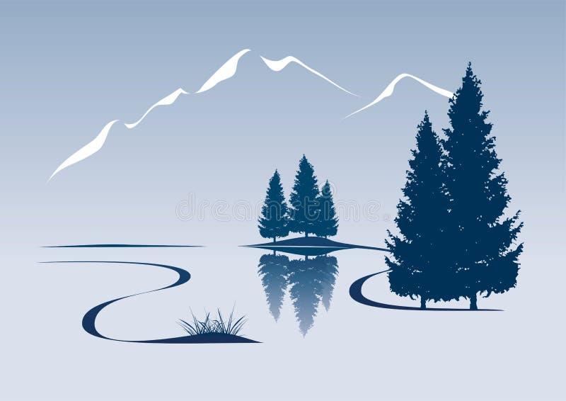 Rivieroeverbergen stock illustratie