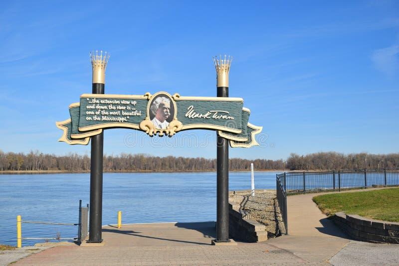 Rivieroeverteken voor Hannibal, Missouri royalty-vrije stock fotografie