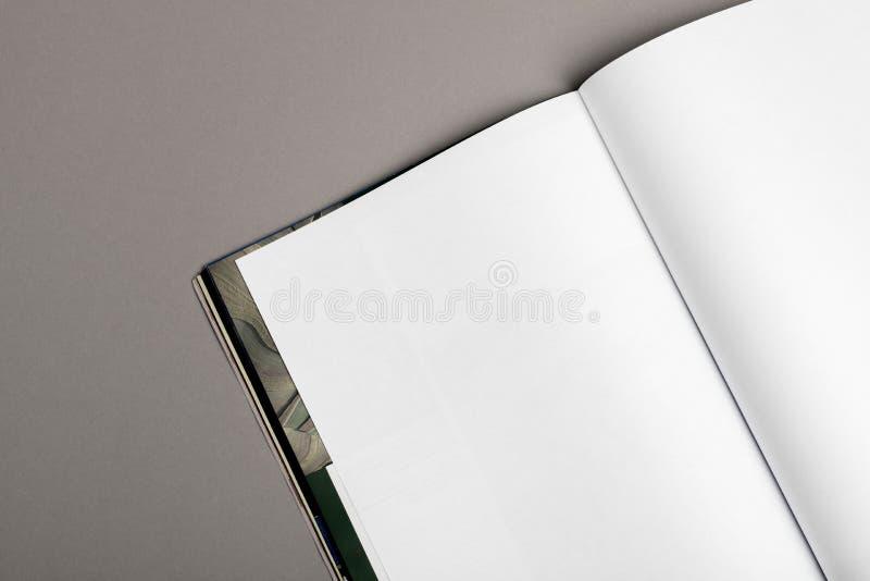 Rivista in bianco dell'opuscolo isolata su grey per sostituire la vostra progettazione immagine stock