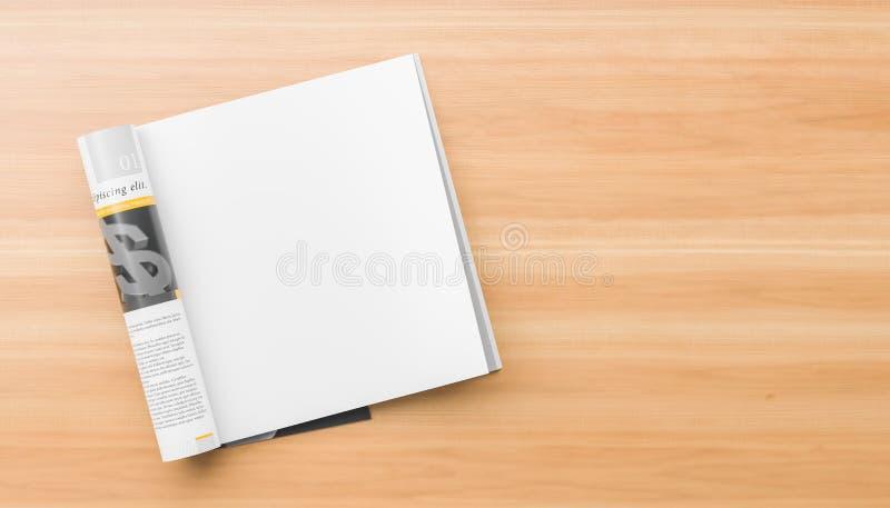Rivista isolata e quadrata della pagina realistica e giusta o derisione del catalogo su su fondo di legno Pagina quadrata in bian illustrazione vettoriale