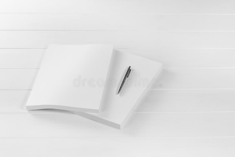 Rivista, manifesto, opuscolo o aletta di filatoio del modello isolati su fondo bianco immagine stock