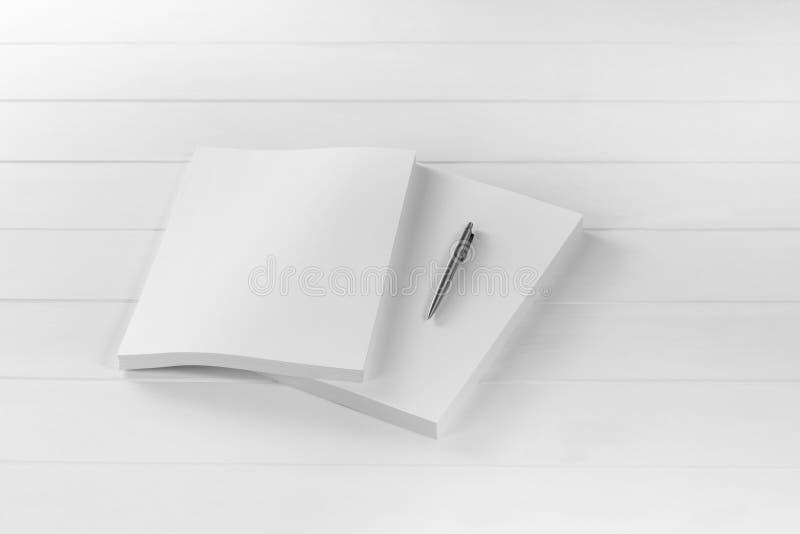 Rivista, manifesto, opuscolo o aletta di filatoio del modello su fondo bianco immagine stock