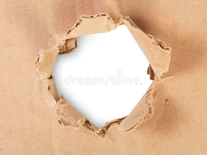Rivit sönder hål i papp royaltyfri fotografi