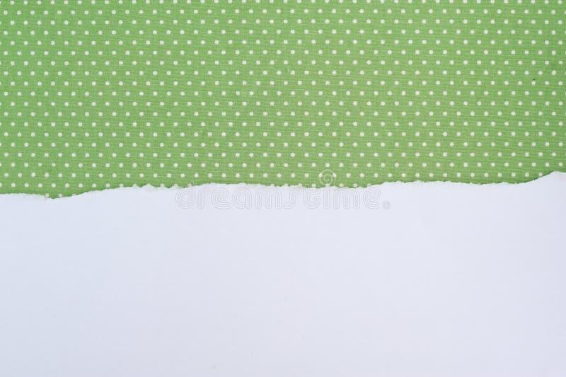 Rivit sönder pappers- på grönt tyg för text och bakgrund royaltyfria bilder