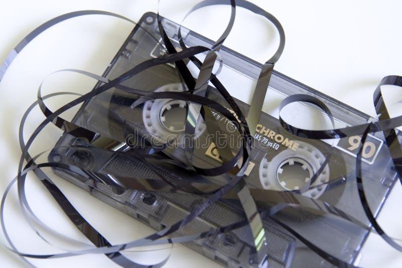 rivit upp kassettband royaltyfria bilder