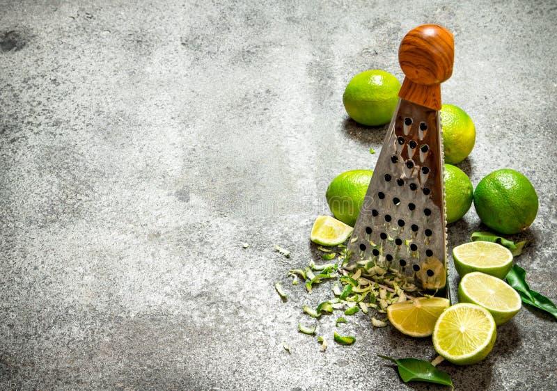Rivjärn med nya limefrukter royaltyfria bilder