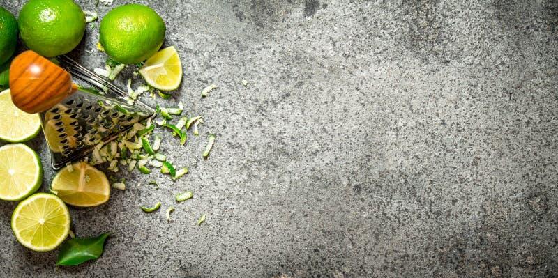 Rivjärn med nya limefrukter royaltyfri fotografi