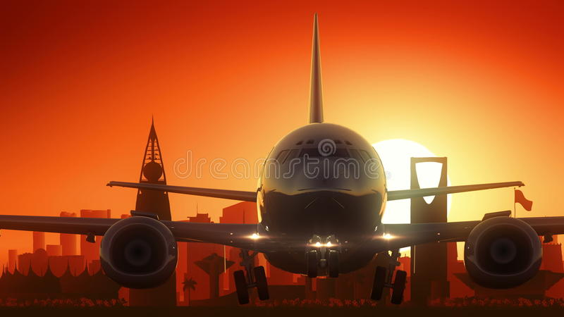 Riyadh Airplane Take Off Skyline Golden Background royalty free stock photos
