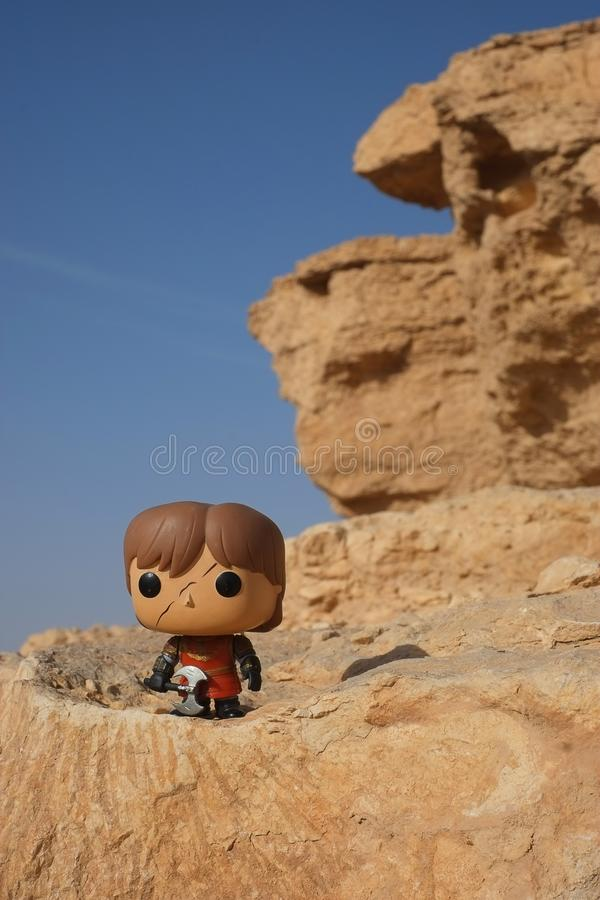 Riyadh/Arabie Saoudite - 15 février 2019 : Modèle de jouet de Funko de bruit de Tyrion fait face réduit Lannister avec la hache d photo stock
