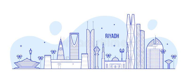 Riyadh de vector van de stadsgebouwen van horizonsaudi-arabi? royalty-vrije illustratie