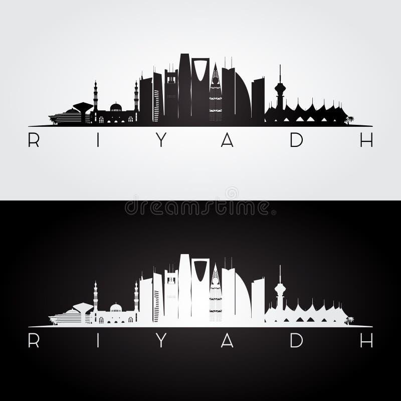 Riyadh horizon en oriëntatiepuntensilhouet royalty-vrije illustratie