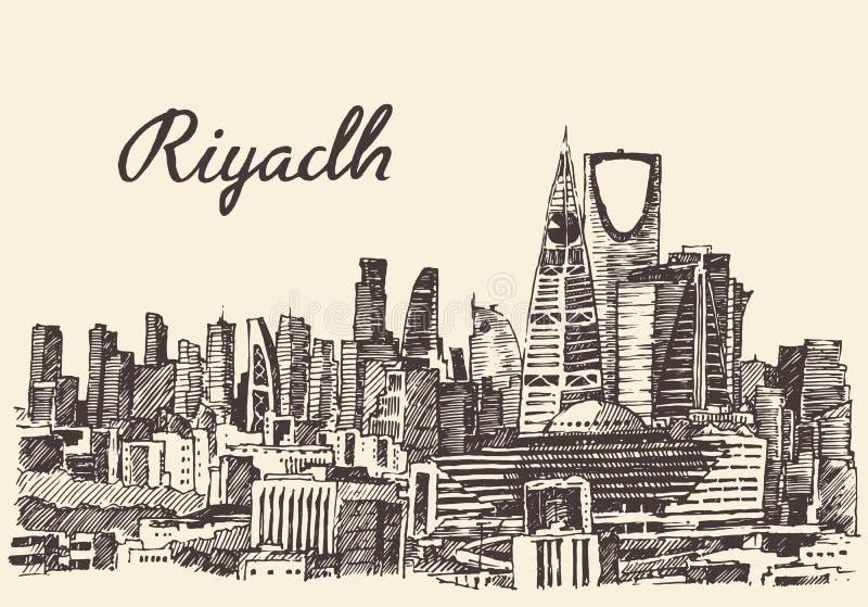 Riyadh horizon gegraveerde vectorhand getrokken schets vector illustratie