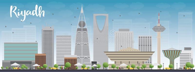 Riyadh horizon met grijze gebouwen en blauwe hemel stock illustratie