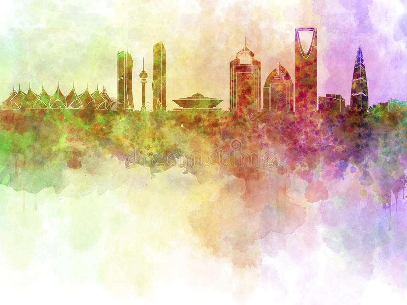 Riyadh horizon op watercolourachtergrond stock illustratie