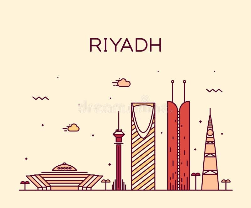 Riyadh lineaire horizon in vectorillustratie stock illustratie