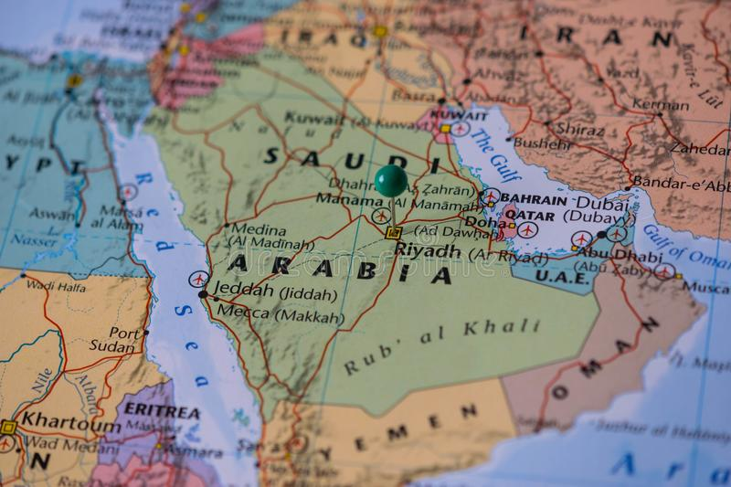 Riyadh Pinned On A Map Of Saudi Arabia With A Green Pin Color Of