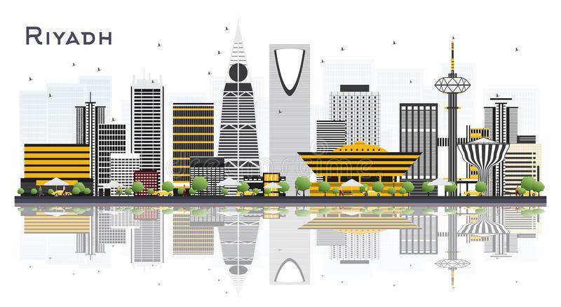 Riyadh Saudi Arabia City Skyline with Gray Buildings Isolated on. White Background. Vector Illustration. Business Travel and Tourism Concept with Modern vector illustration