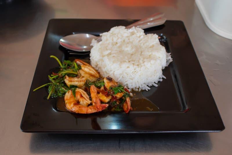 Riz avec la crevette, nourritures épicées de Basil Thailand populaires image libre de droits
