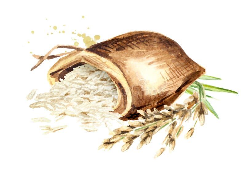 Riz basmati dans le sac Illustration tirée par la main d'aquarelle d'isolement sur le fond blanc illustration de vecteur