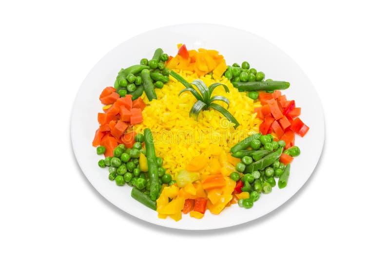 Riz bouilli avec des légumes photo stock