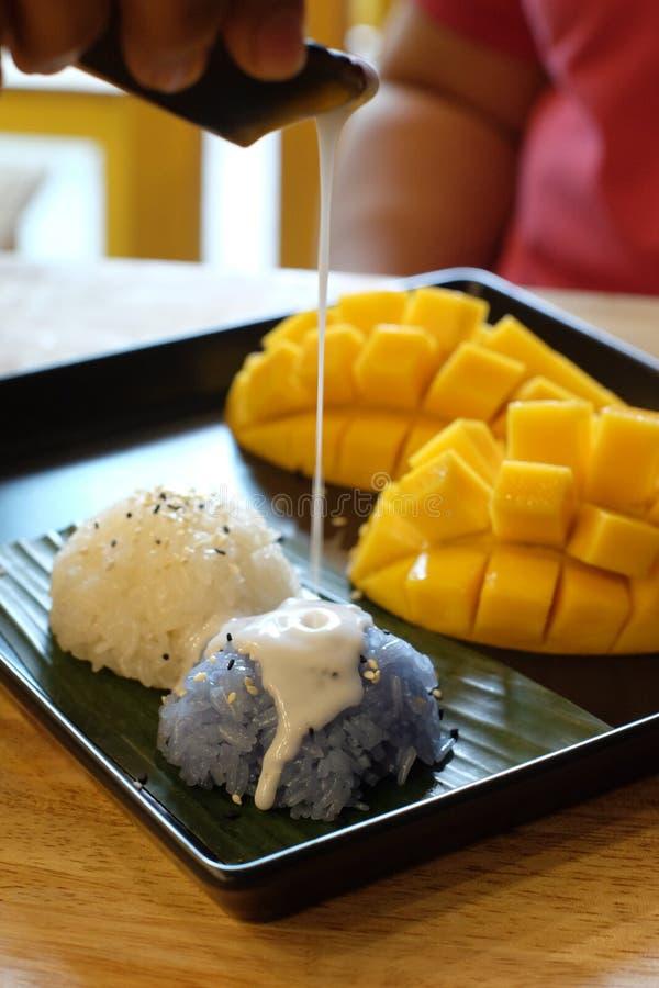 Riz collant de mangue et lait de noix de coco images libres de droits
