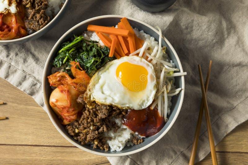 Riz coréen fait maison épicé de Bibimbap images stock