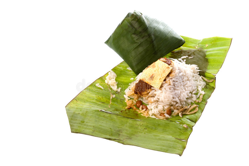 Riz de noix de coco dans la lame de banane photo libre de droits