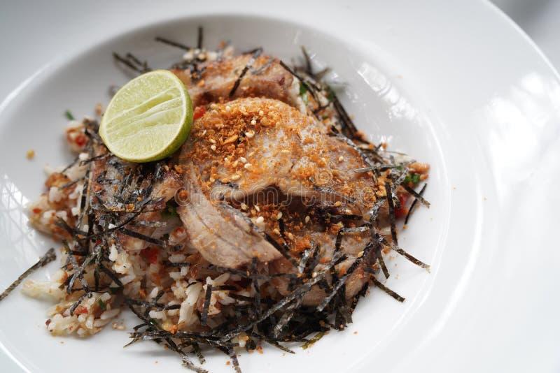 Riz frit avec du porc de Chasu photographie stock