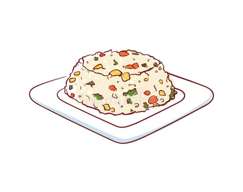 Riz frit avec l'icône de vecteur d'isolement par légumes illustration stock