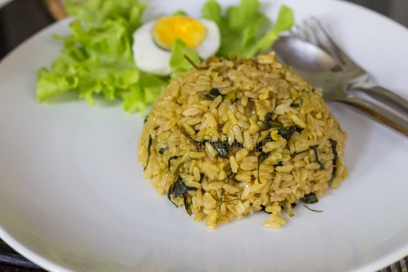Riz frit avec le poulet vert de cari images stock