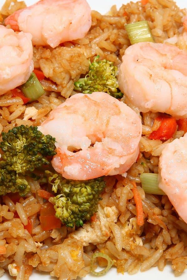 Riz frit de crevette asiatique photo stock
