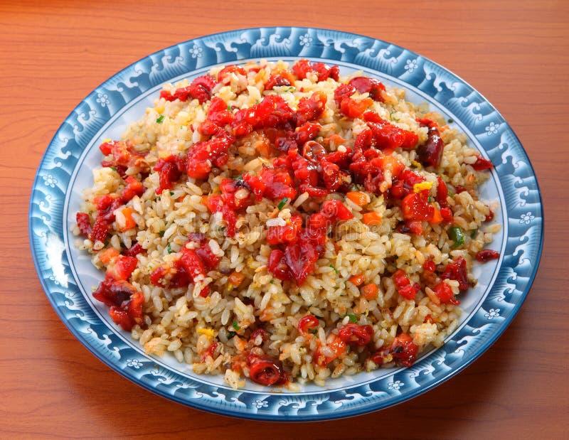 Riz frit de fruits de mer caractéristiques d'Asiatique photos libres de droits