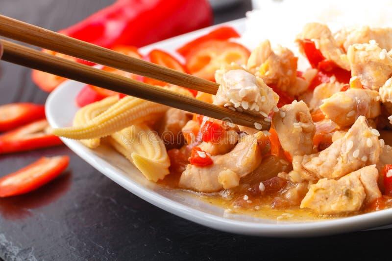 Riz frit de poulet chinois épicé photos stock