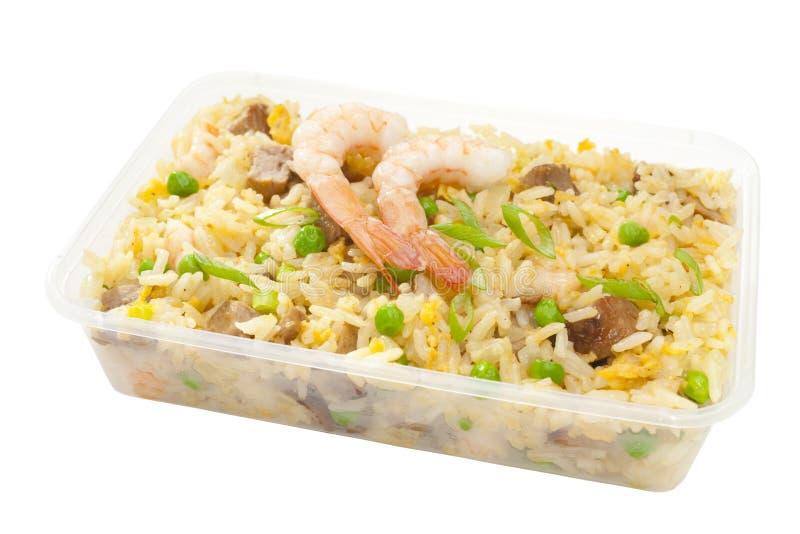 Riz frit spécial de nourriture chinoise à emporter photo stock